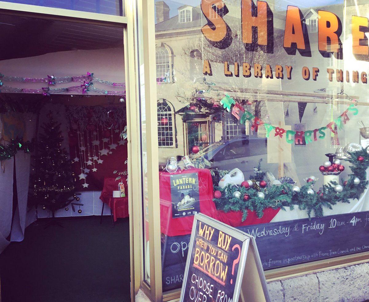 The SHARE shop front leading to Santa's Grotto for the Frome lights switch-on in 2018.