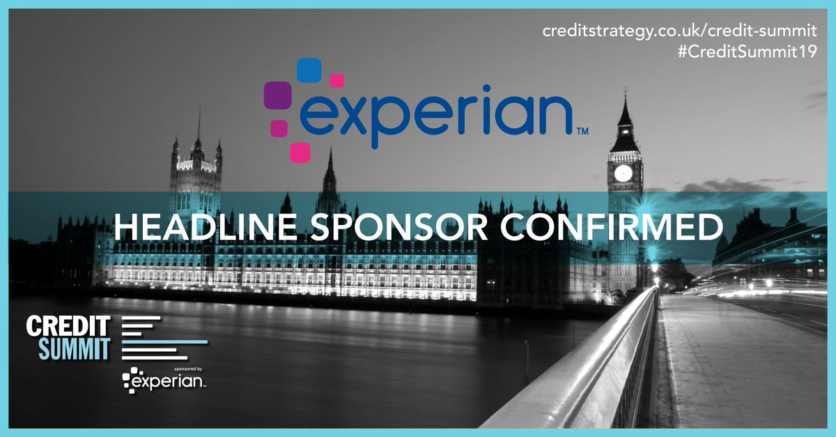 We're proud to announce that @Experian_UK is the headline sponsor for Europe's largest, most established credit conference and exhibition, #CreditSummit19!