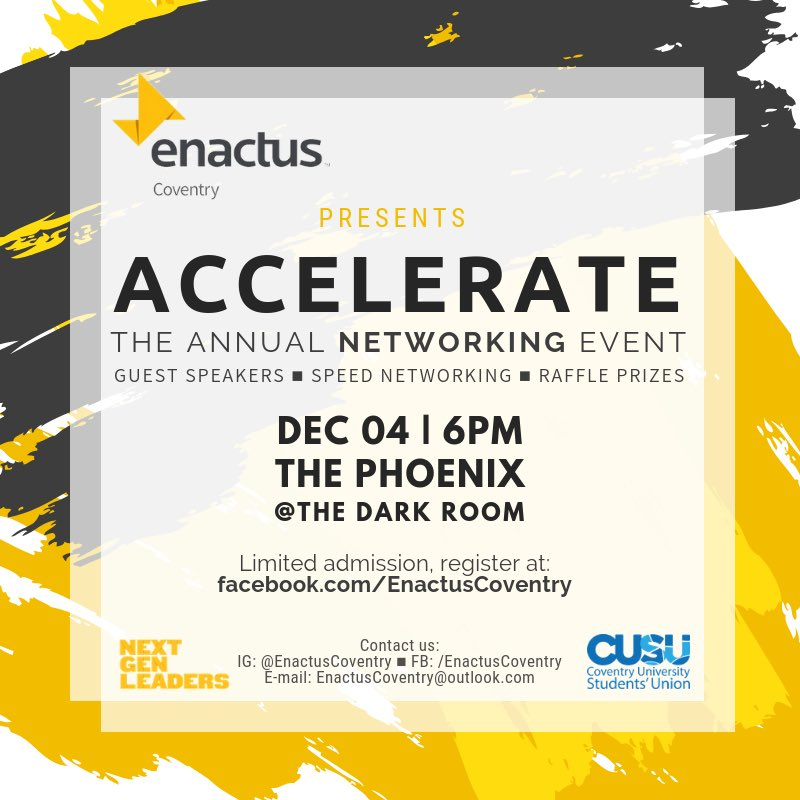 ✨✨✨Exciting news ✨✨✨✨  Enactus Coventry is having our annual networking event on Tuesday 4th December and you're invited! 🤩  Make sure to register at http://Facebook.com/EnactusCoventry #tellafriendtotellafriend