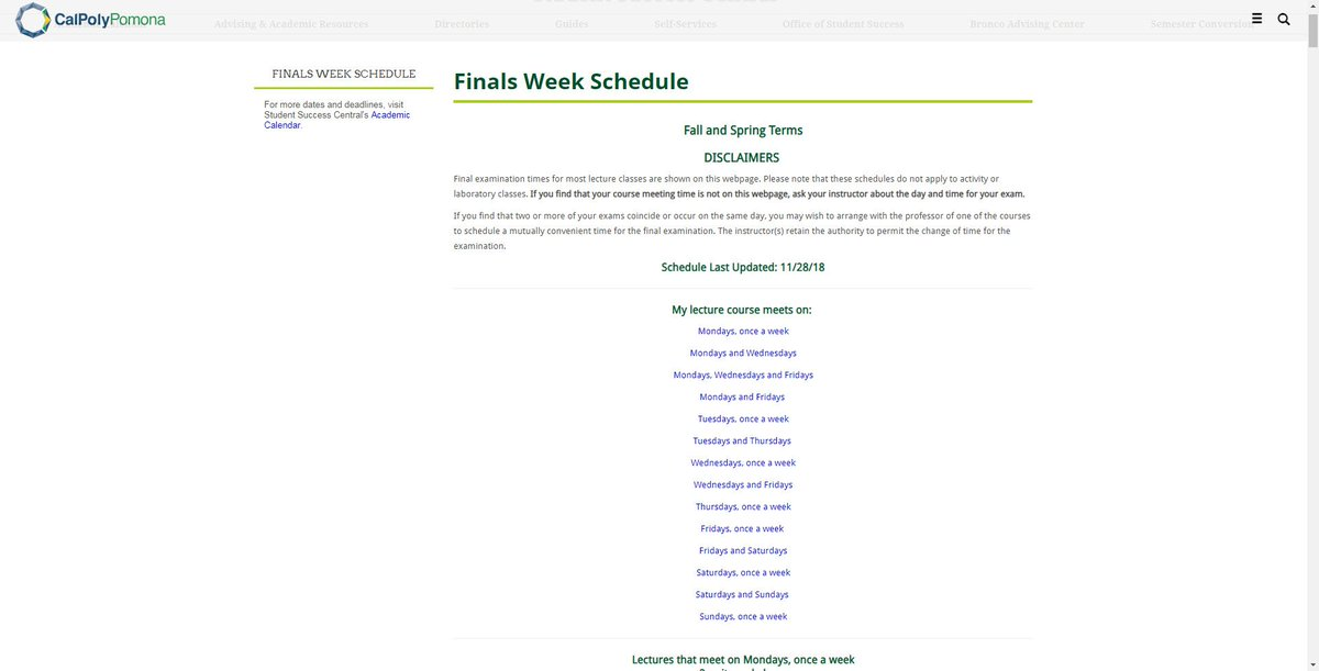 Cal Poly Pomona Academic Calendar.Cpp Bac On Twitter Looking For Your Finals Week Schedule