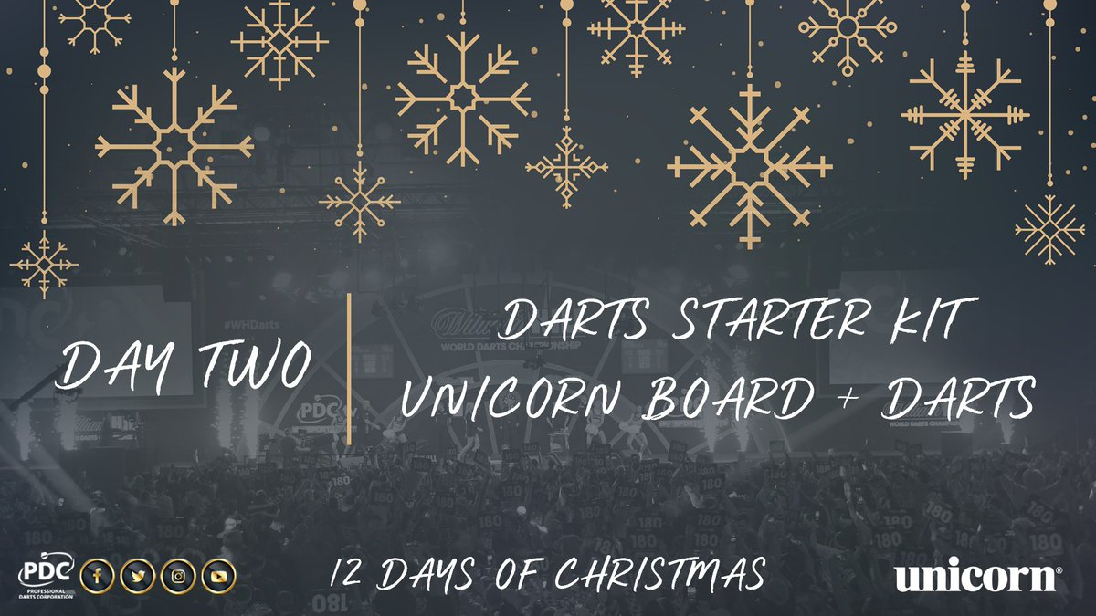 DAY TWO!  Get yourself up and running on the Oche with a darts starter kit, courtesy of @unicornDarts.   Simply RT to enter! #PDC12DaysOfChristmas https://t.co/JJAvdHKRPm
