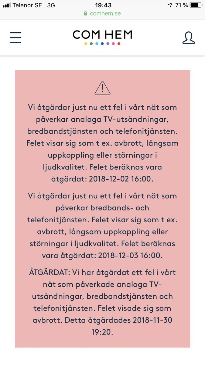 Fel i tv central avbrot program