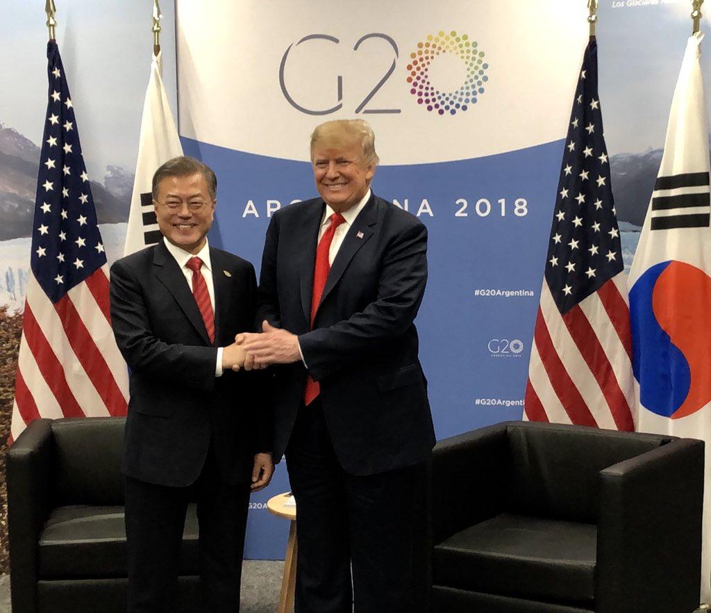🚨Happening Now- President @realDonaldTrump and South Korean President Moon Jae-in (@moonriver365) meeting at #G20Argentina🇺🇸🇰🇷