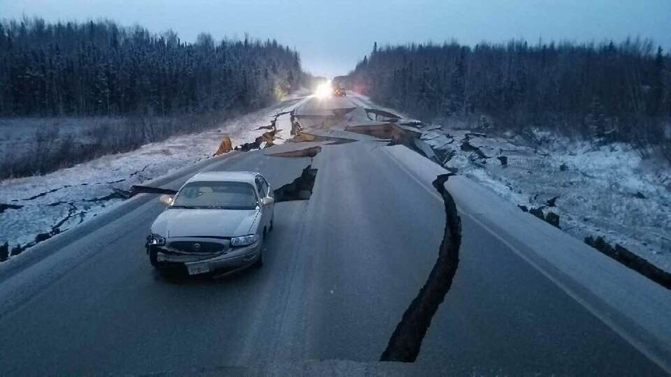 Photos of collapsed, cracked roads show the power of Alaska's earthquake