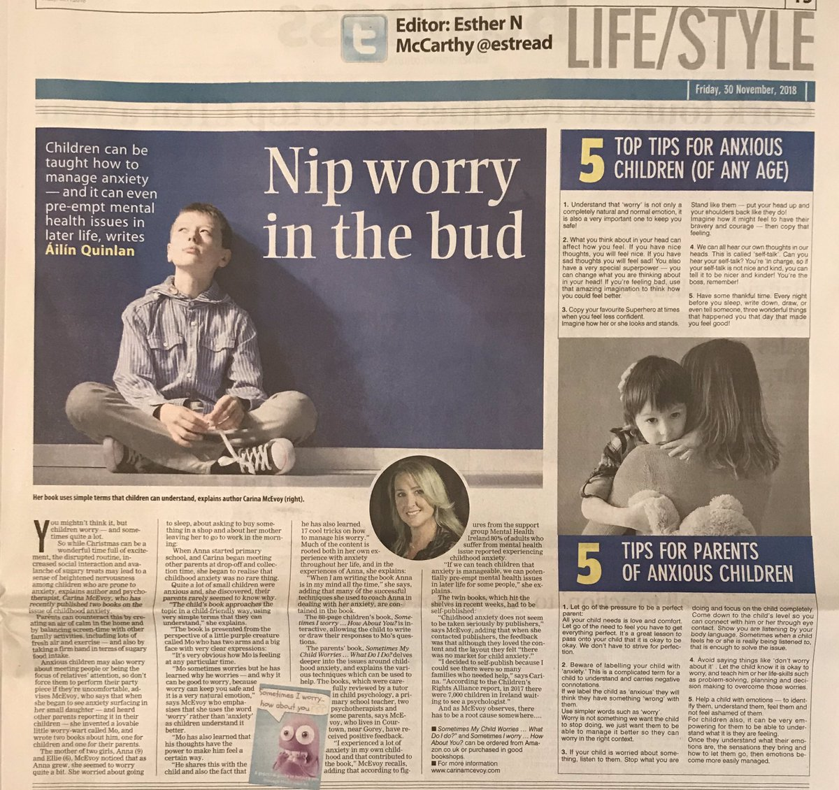 405dc6593f06 Thrilled to be featured in today s  irishexaminer along with my 5 top tips  for anxious kids   also 5 top tips for parents of anxious kids.