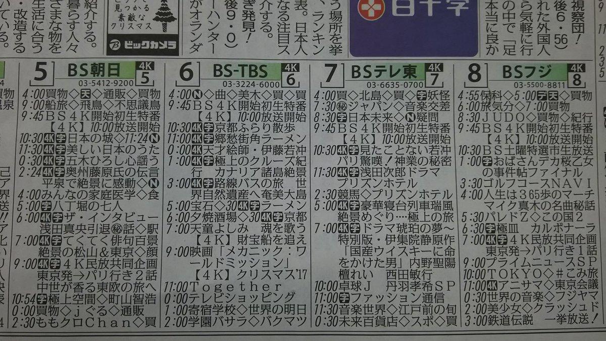 Bs テレビ 欄