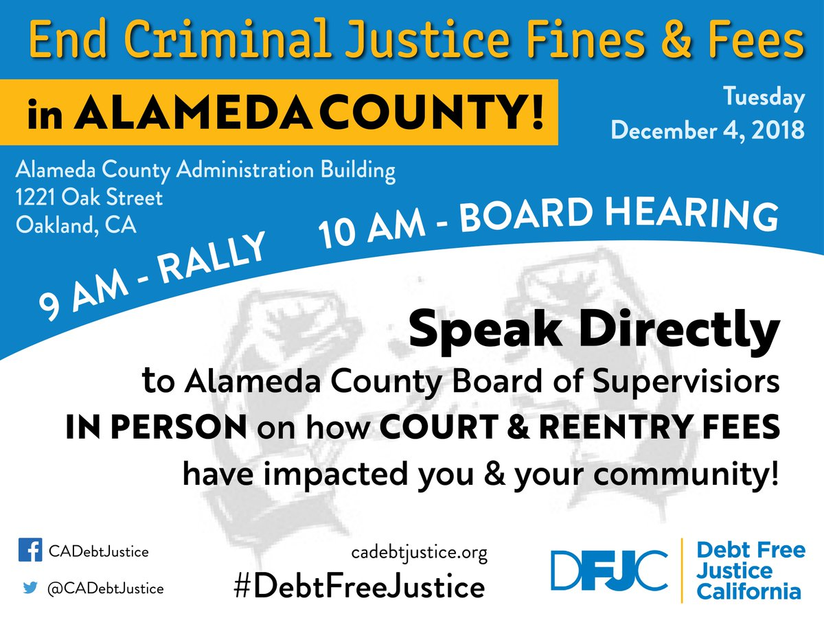 End Criminal Justice Fines and Fees in Alameda County @ County Building, across the street from the Courthouse | Oakland | California | United States