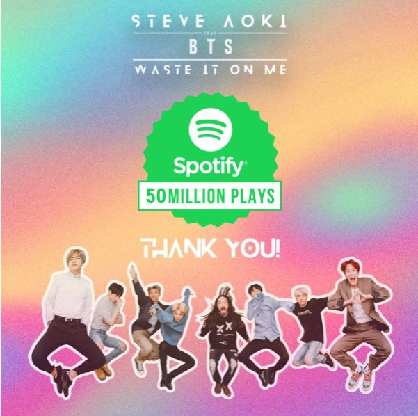 50 million thank you's and counting!! #wasteitonme @BTS_twt @Spotify https://t.co/SP21cQyvSI