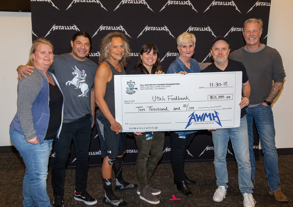 Metallica donating to local food banks on every stop of their current tour