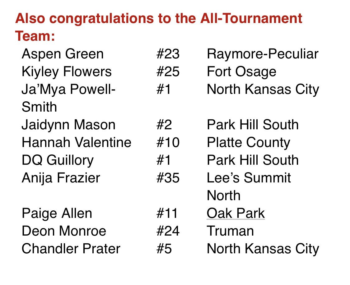 CONGRATULATIONS to #FOWBB player Kiyley Flowers for being named to the Winnetonka All Tournament team. We are proud of you @kiyley1 💪🏽