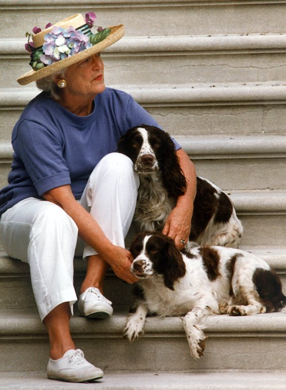 Barbara Bush used to sit on the steps of the South Portico at the White House, waiting for George Bush to return from trips. I thought of this picture tonight, and how happy she must be that he's coming home to her again.