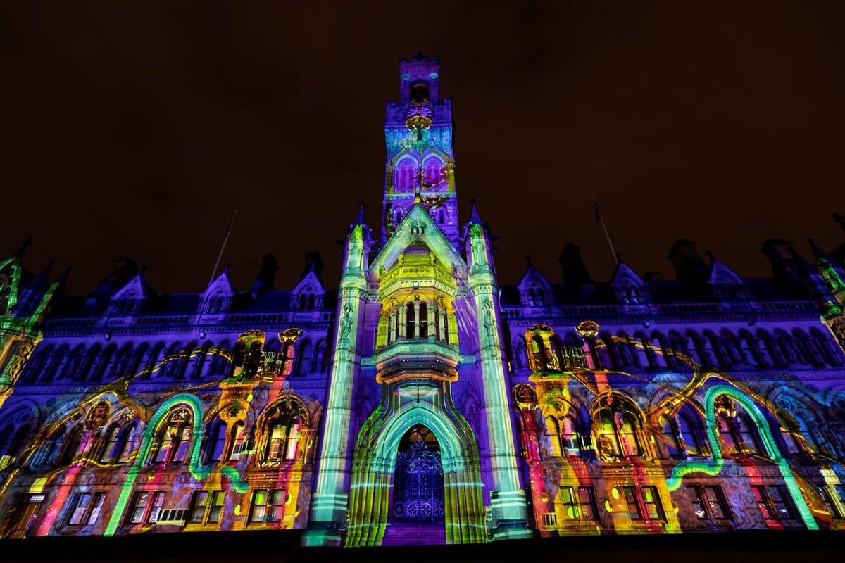 Come to Bradford this weekend to see the latest show from @TheColorProject for Illuminate Bradford   - it's stunning!    #projectionmapping #eventprofs #illuminatebradford #bradford