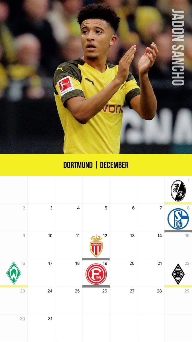 Kazu على تويتر 12月のクラブカレンダー壁紙その2 バイエルン ドルトムントver ニャブリ サンチョ