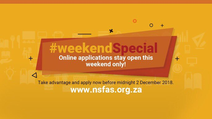 Reminder to students looking for funding. You have until tomorrow, 2 December 2018 to apply for 2019 NSFAS funding @myNSFAS. Don't miss out! https://t.co/jTrvAt429j