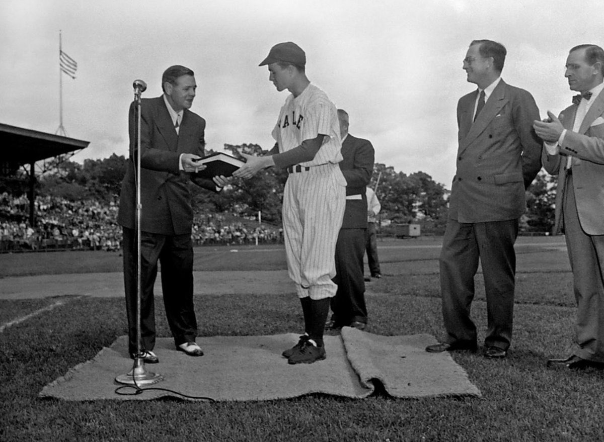 George H.W. Bush, Yale baseball captain, with Babe Ruth, June 1948: