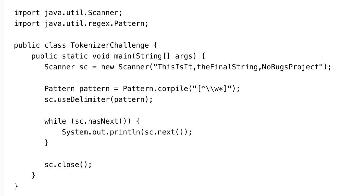Java On Twitter Solve This Java Challenge On String Tokenizer Simple Java Pattern Compile