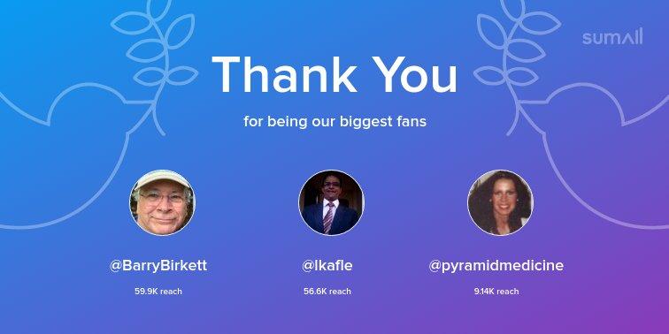 Our biggest fans this week: @BarryBirkett, @lkafle, @pyramidmedicine. Thank you! via https://t.co/XpuXtN8U2O https://t.co/vwjq1kaMds