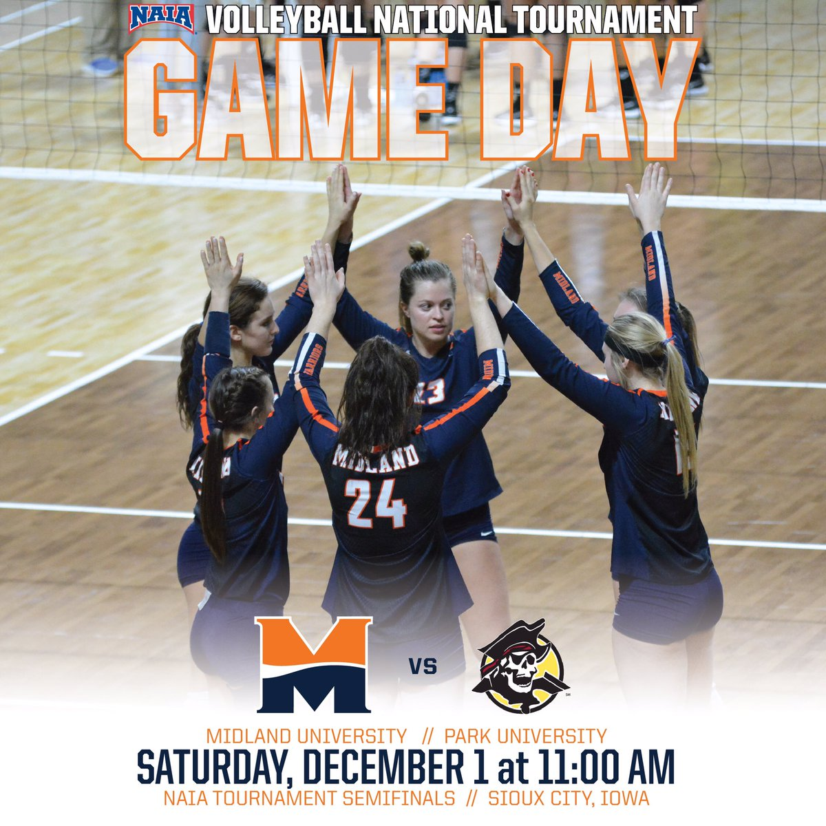 Hey #WarriorNation!!! It is #GameDay for one last time this season for @Midland_VBall!!! The Final Four begins at 11 a.m. and will be streamed live on ESPN3!!! #LetsGo   🕚-11am 📍-Sioux City, Iowa 🏐-Midland vs. Park 🖥-http://www.espn.com/watch/_/id/3460185/naia-womens-volleyball-tournament … 📈-http://www.dakstats.com/websync/Pages/Tournament/TournamentPage.aspx?association=10&sg=WVB&tour=2672 …