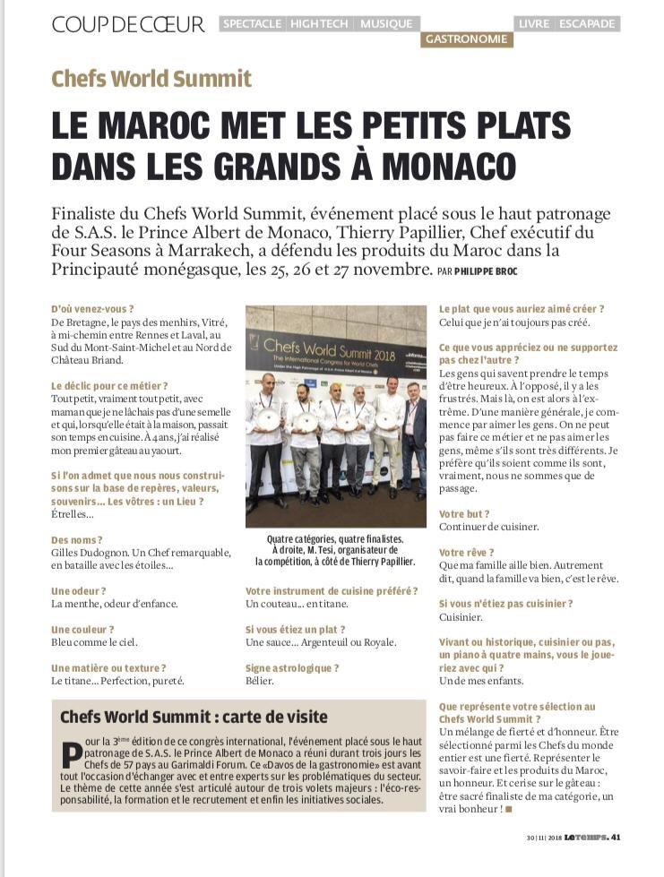 FourSeasonsMarrakech On Twitter Thank You To Pierre Broc For Featuring Our Chef In Your Last Le Temps Article Cheflife FourSeasons Foodie