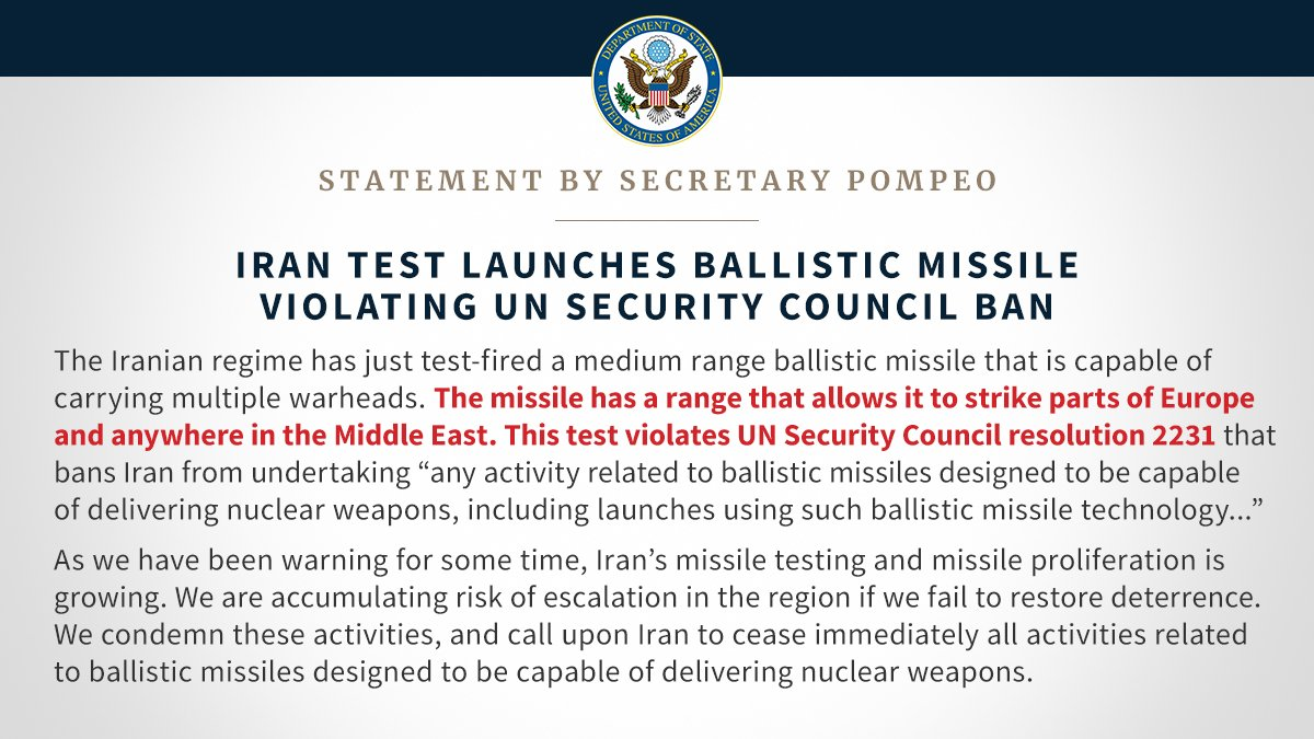 واشنطن: إيران خالفت حظر مجلس الأمن باختبار صاروخ باليستي DtWKsKnWkAEfb3d