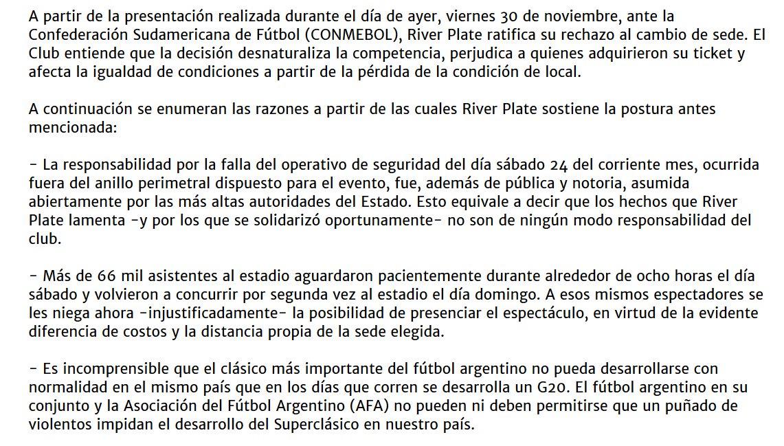 COMUNICADO OFICIAL DE RIVER PLATE River NO QUIERE jugar la final en MADRID y RECURRIRÁ AL TAS de ser necesario.  #CONMEBOLLibertadores