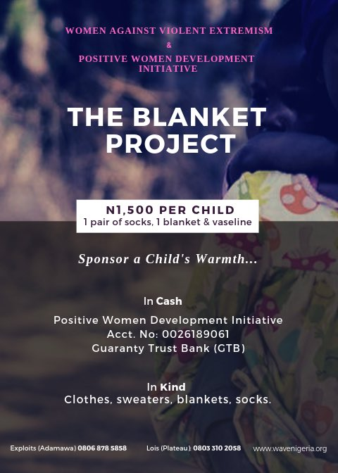 It's harmattan season again, & it comes with health hazards. Children are the most vulnerable population, especially those displaced by extremist activities.  The Blanket Project aims to provide warmth to 1000 Children in IDP camps in Adamawa & Plateau states.  Please DONATE! https://t.co/BGJIWLIzY3