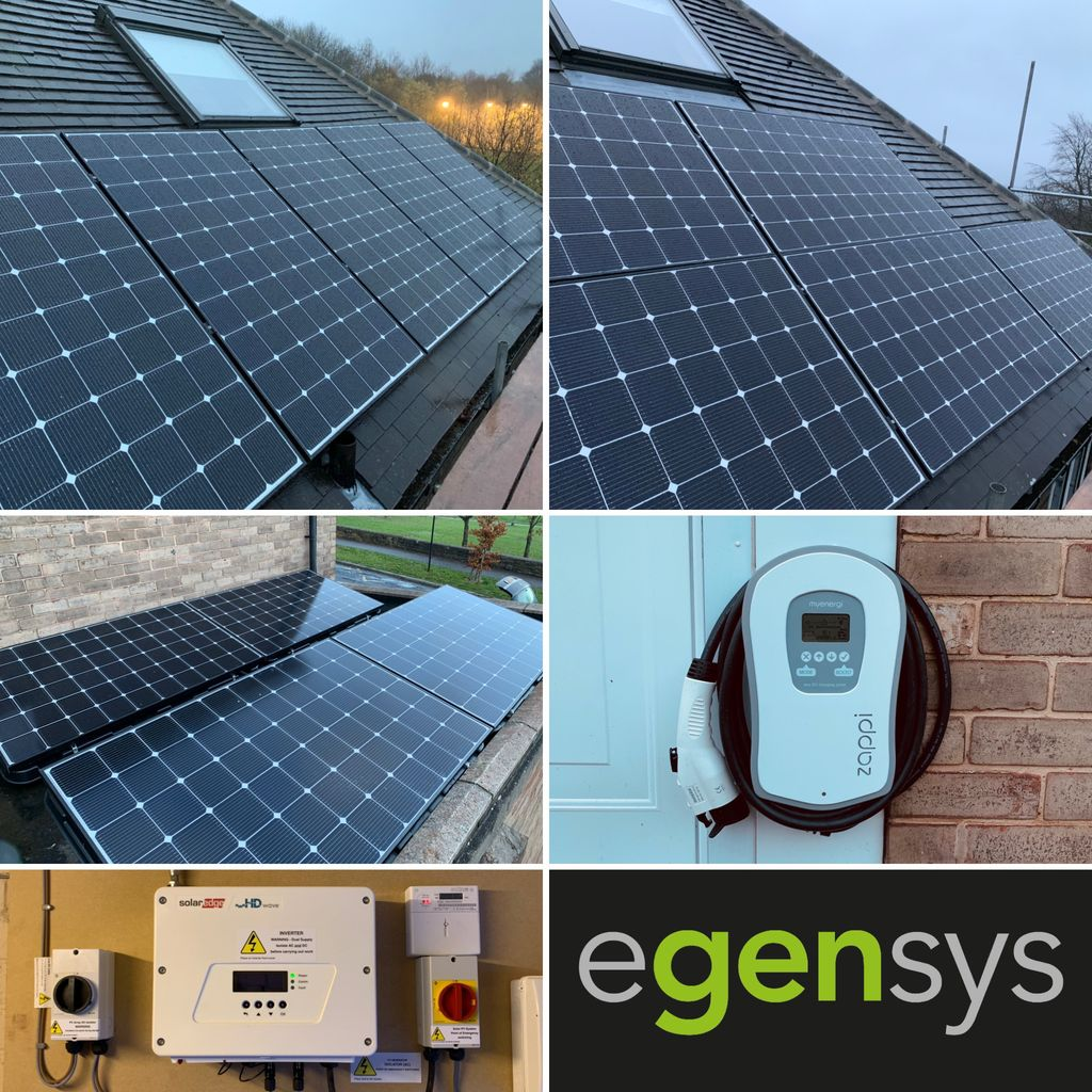 This 4.76kW Solar PV system installed in Sheffield uses fourteen 340W LG mono panels,  a SolarEdge HD Wave Inverter with a myenergi zappi smart EV charge controller.  Contact Egensys to see how we can help you maximise solar generation.  @SolarEdgePV  @MyEnergiLTD  @LGSolarUK
