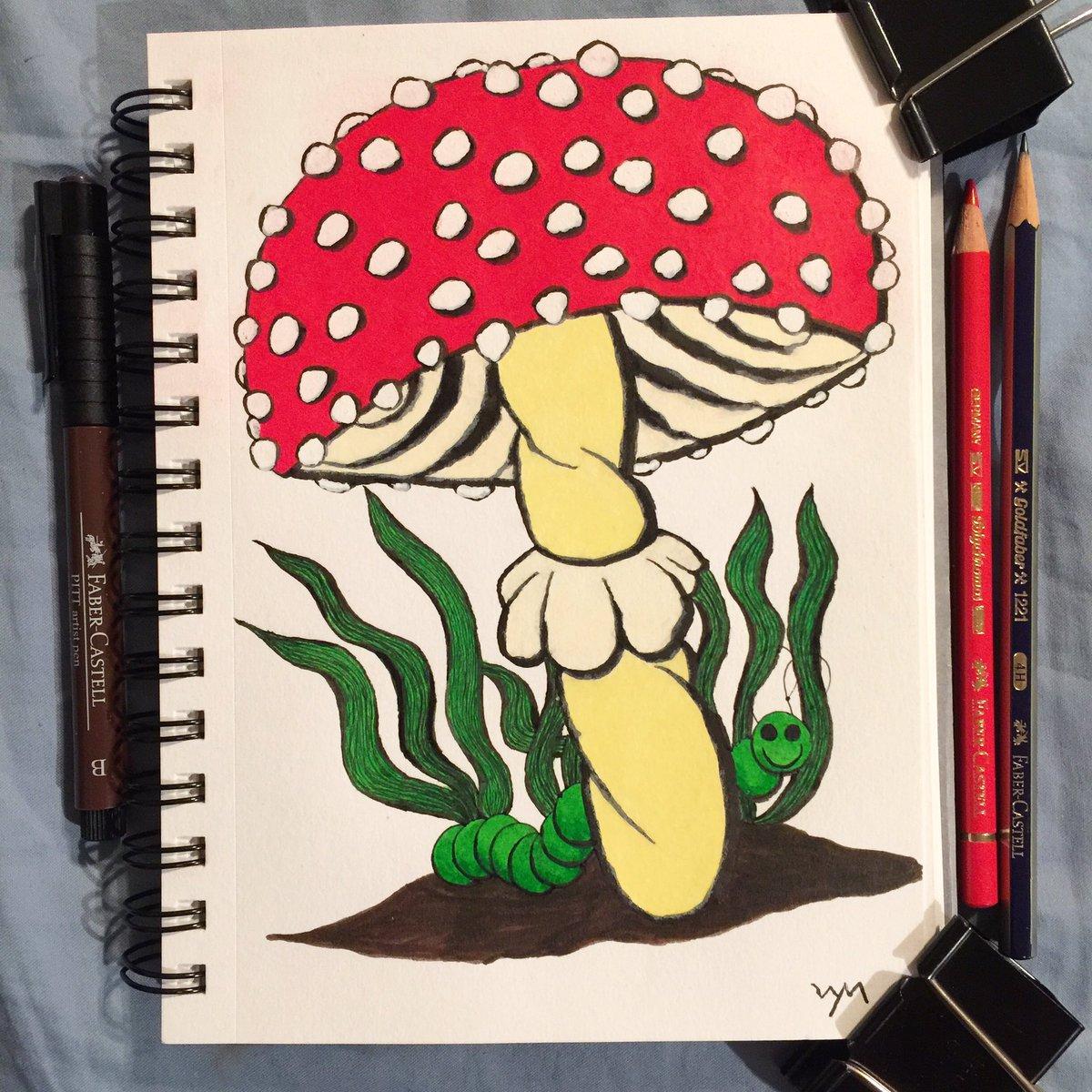 #wynart #InchWormofHappiness #fungi #mushroom #art #traditionalart #traditionaldrawing #drawing #coloredpencils #penandink #fabercastell #beepapercompanypic.twitter.com/gTN5RI1EEq
