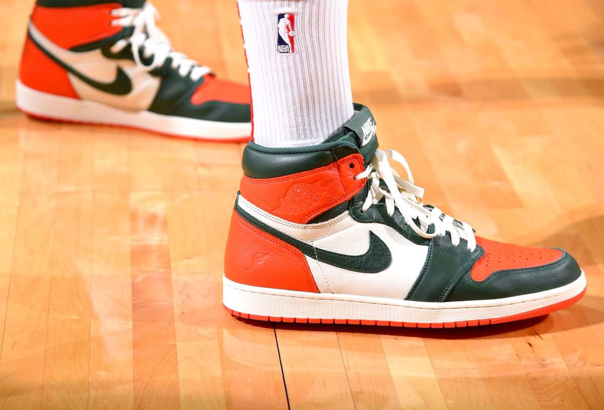 6fb8dc03a7583c PJ Tucker wearing the SOLEFLY x Jordan 1 vs the Bulls tonight ...