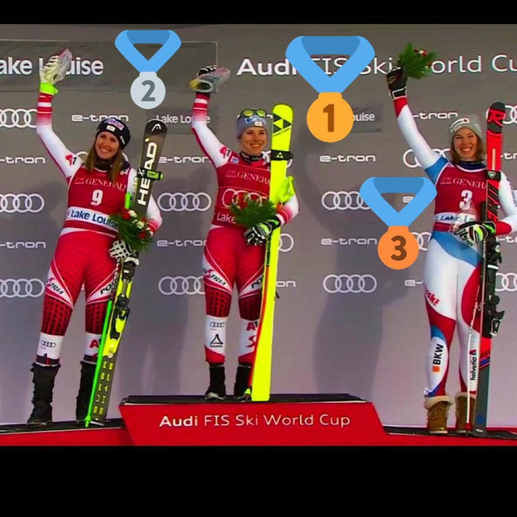 Well done, @AlpineSkiWC and  lake Louise DH ladies!! Cheers 🥂 Nicole, Conny and Michelle!!! #connyhuetter 🇦🇹 #nicoleschmidhofer  and #michellegisin 🇨🇭