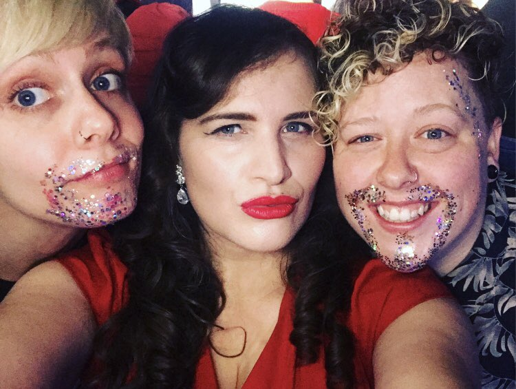 ✨💕 With my glitter beard bros @Seej and @daniellejournal, getting VERY EXCITED for @kttunstall to perform! 💕✨ #TeamDIVA #DIVAMusicFest18 #WomenInMusic