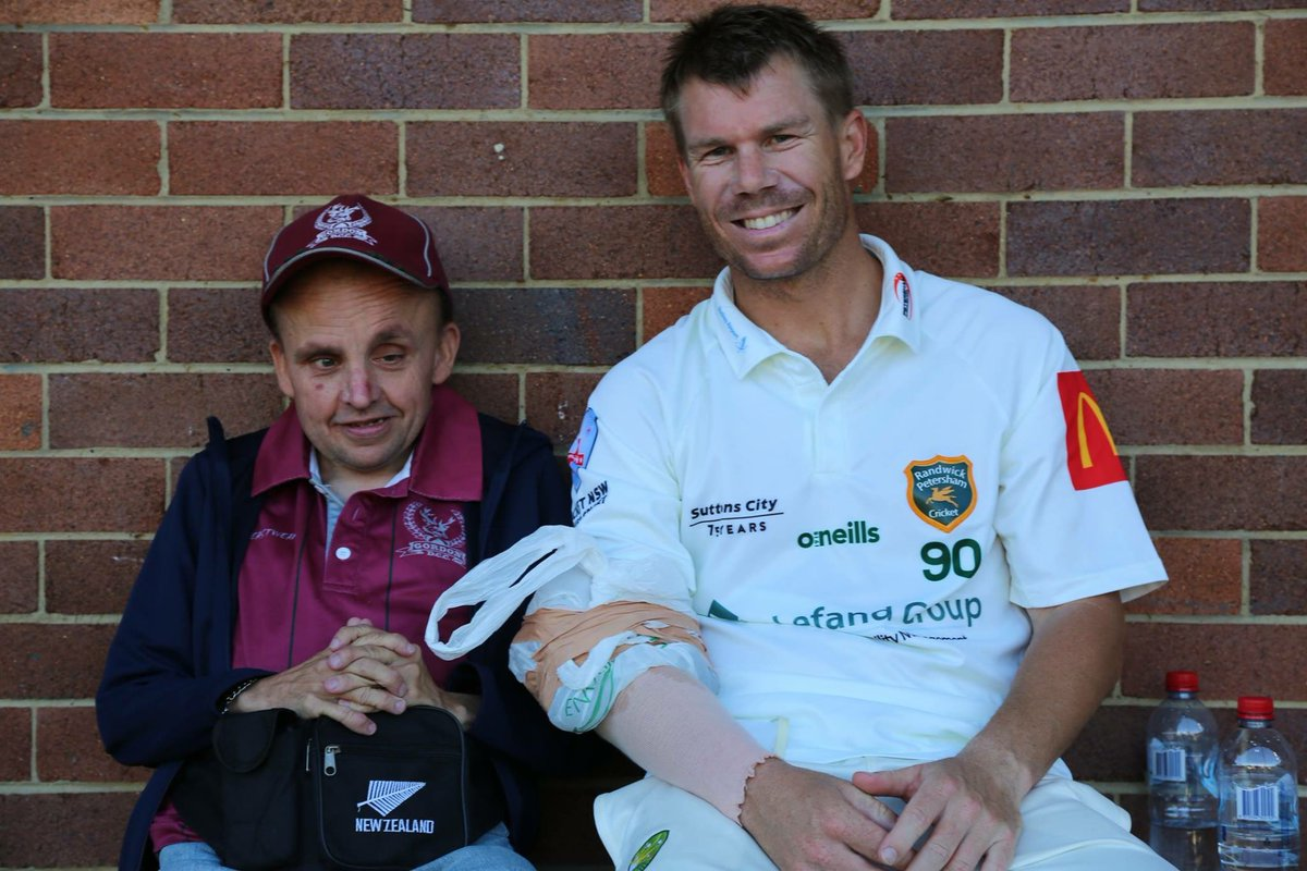 Thanks very much @davidwarner31 for spending time with Marcus yesterday afternoon.This is what @PremCricketNSW is all about. #community #stags #randypetes @RandyPetesCC