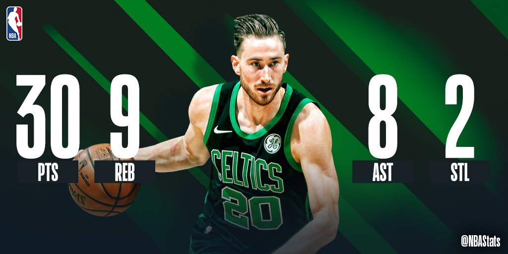 Gordon Hayward goes off for a season-high 30 PTS, 9 REB, 8 AST in the @celtics win on the road! Hayward is the first BOS player with at least 30 points, 5 rebounds and 5 assists in a game off the bench since Kevin McHale in 1990. #SAPStatLineOfTheNight