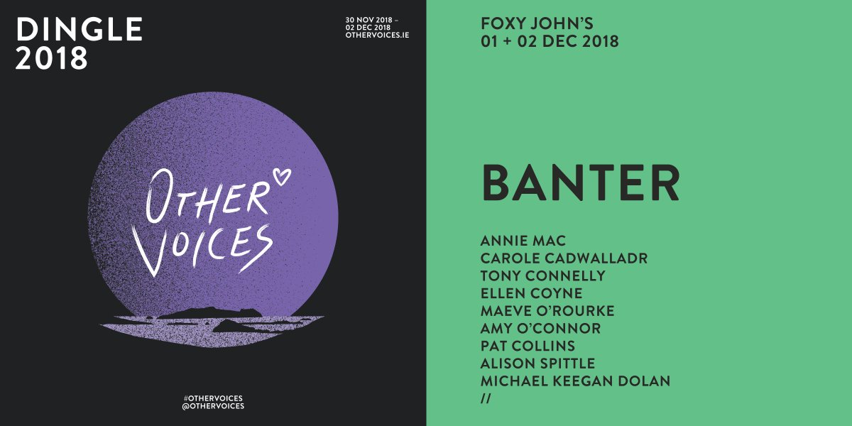 Here's the running order for day 2 of   Foxy John's Dingle:  1pm;  2pm;  2.15pm; Pat Collins 3pm; Michael Keegan-Dolan 4pm,  5pm &  5.15pm. We'll see you there