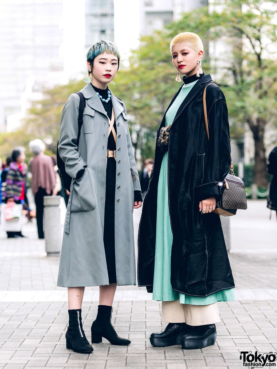 63d108980d5 Saki and rabu on the street in tokyo with short hairstyles and fashion  including a gvgv coat
