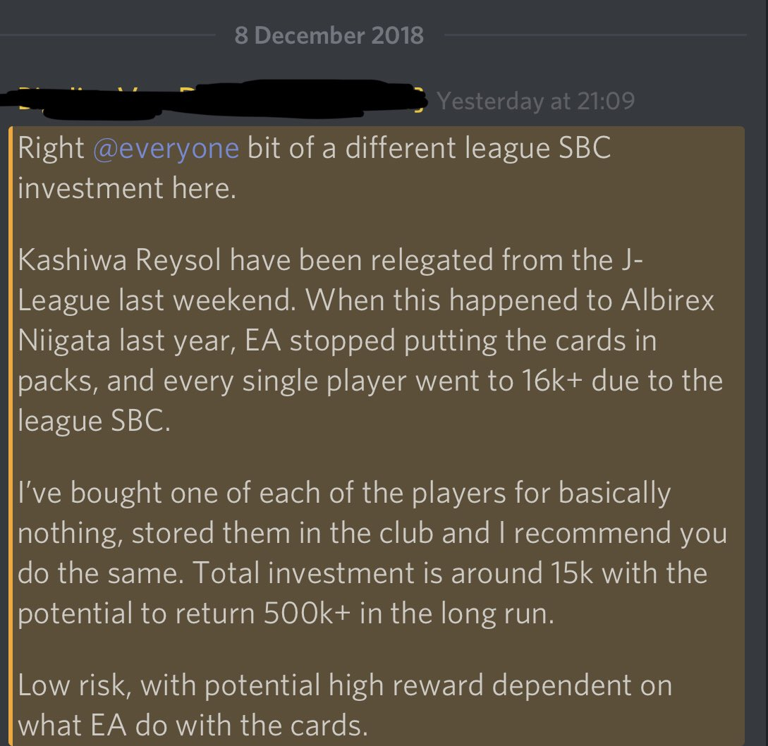 🚨 ALTERNATIVE LEAGUE SBC INVESTMENT TIP🚨  I posted this tip to the Discord last night, and now sharing it with you lovely lot on twitter.   Please read the below post in regards to the recently relegated J-League team, Kashiwa Reysol 🇯🇵  Exclusive FUTCompanion content 🔥
