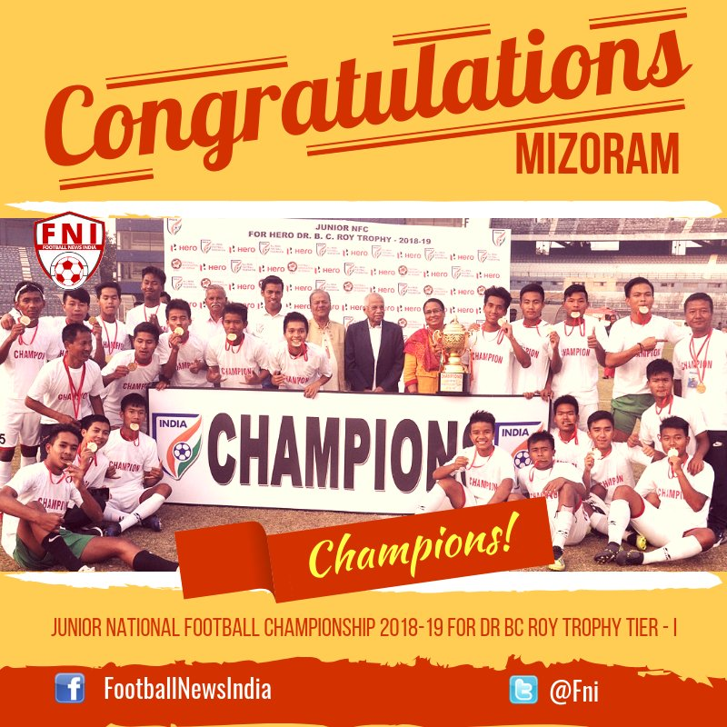 The Mizoram squad after winning the Junior Championships (Credits- Football News India Twitter)