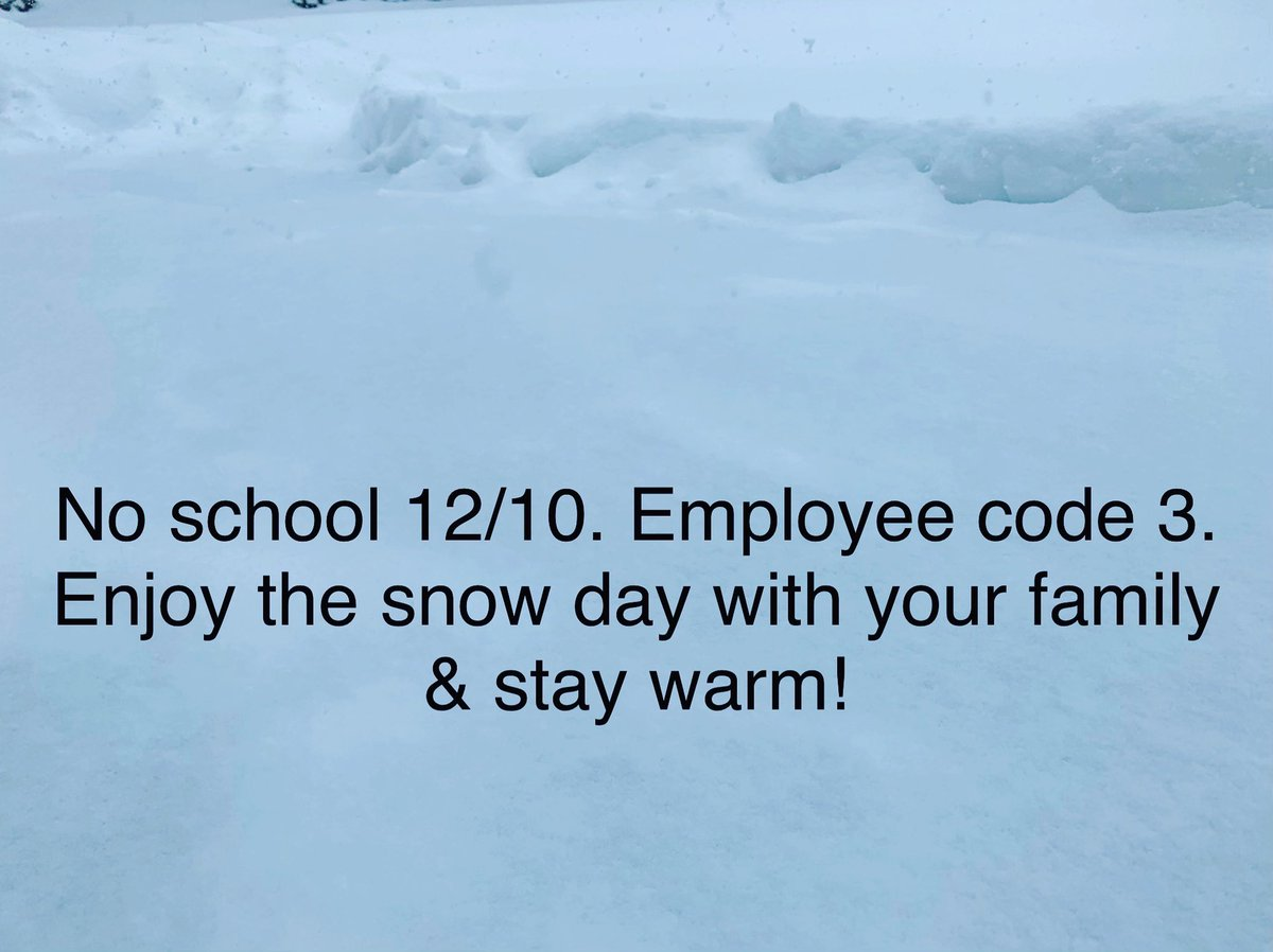 Due to impassable roadways following this weekend's snow, HCPS will be closed on Monday, December 10. Employee code 3. Enjoy the snow day with your family &amp; stay warm!<br>http://pic.twitter.com/vBRunpbTdr