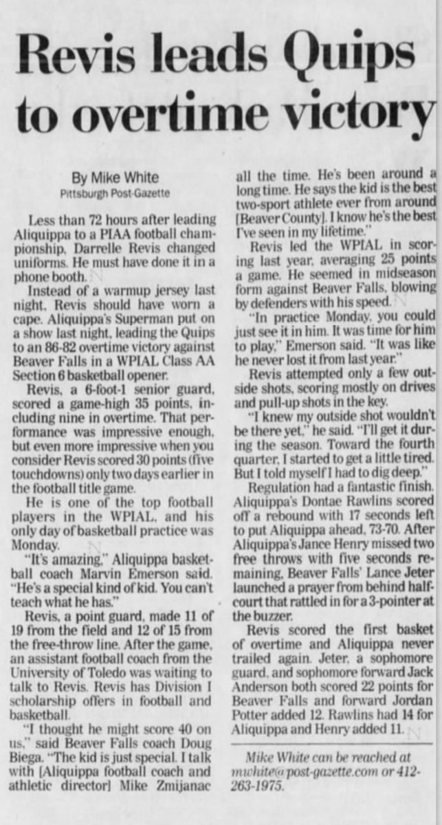 15 years ago (12/9/03): Darrelle Revis&#39; 35 points lead Aliquippa to 86-82 OT win over Beaver Falls. <br>http://pic.twitter.com/z2jqBCX6av
