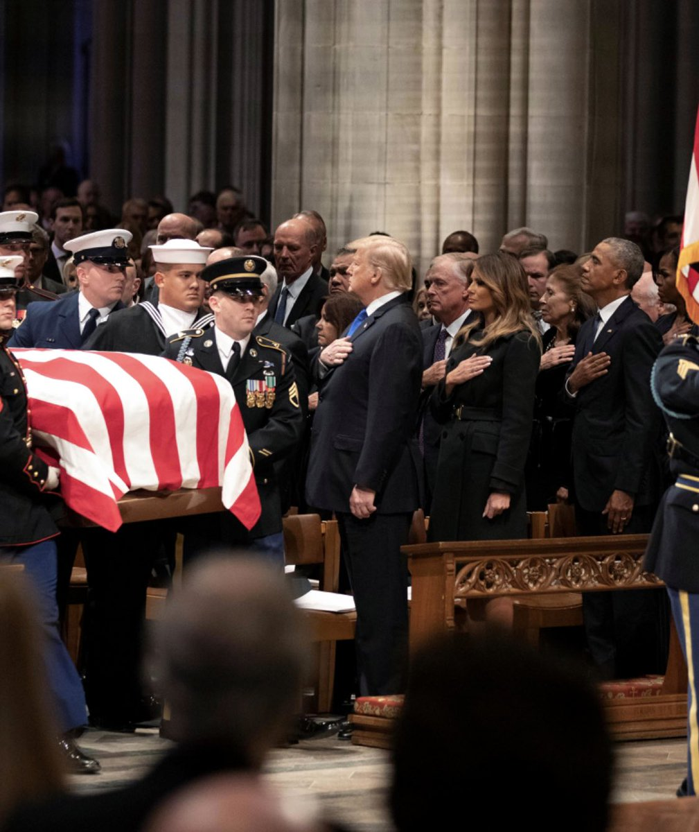 The left continues to push the #FakeNews that Trump didn't put his hand over his heart at Bush 41's funeral.   They use a photo taken a split second after he had dropped his hands.   Here's what really happened: <br>http://pic.twitter.com/eD3LJTbdR0