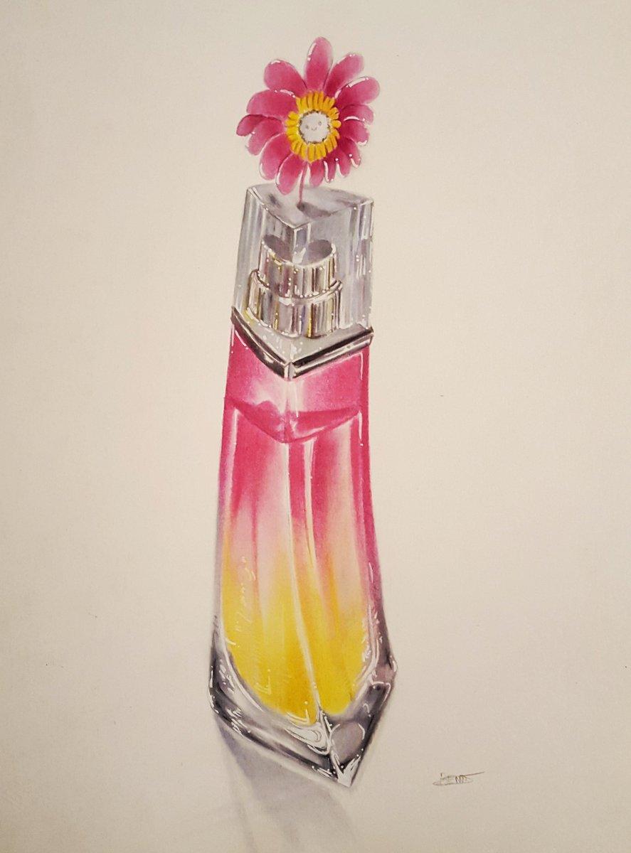 Une pâquerette rose sur un flacon de parfum.. j'aime bien dessiner des fusions bizzares comme ça 😅😊✏  #couleurs #illustration #dessin #drawing #croquis #conceptart #pink #art