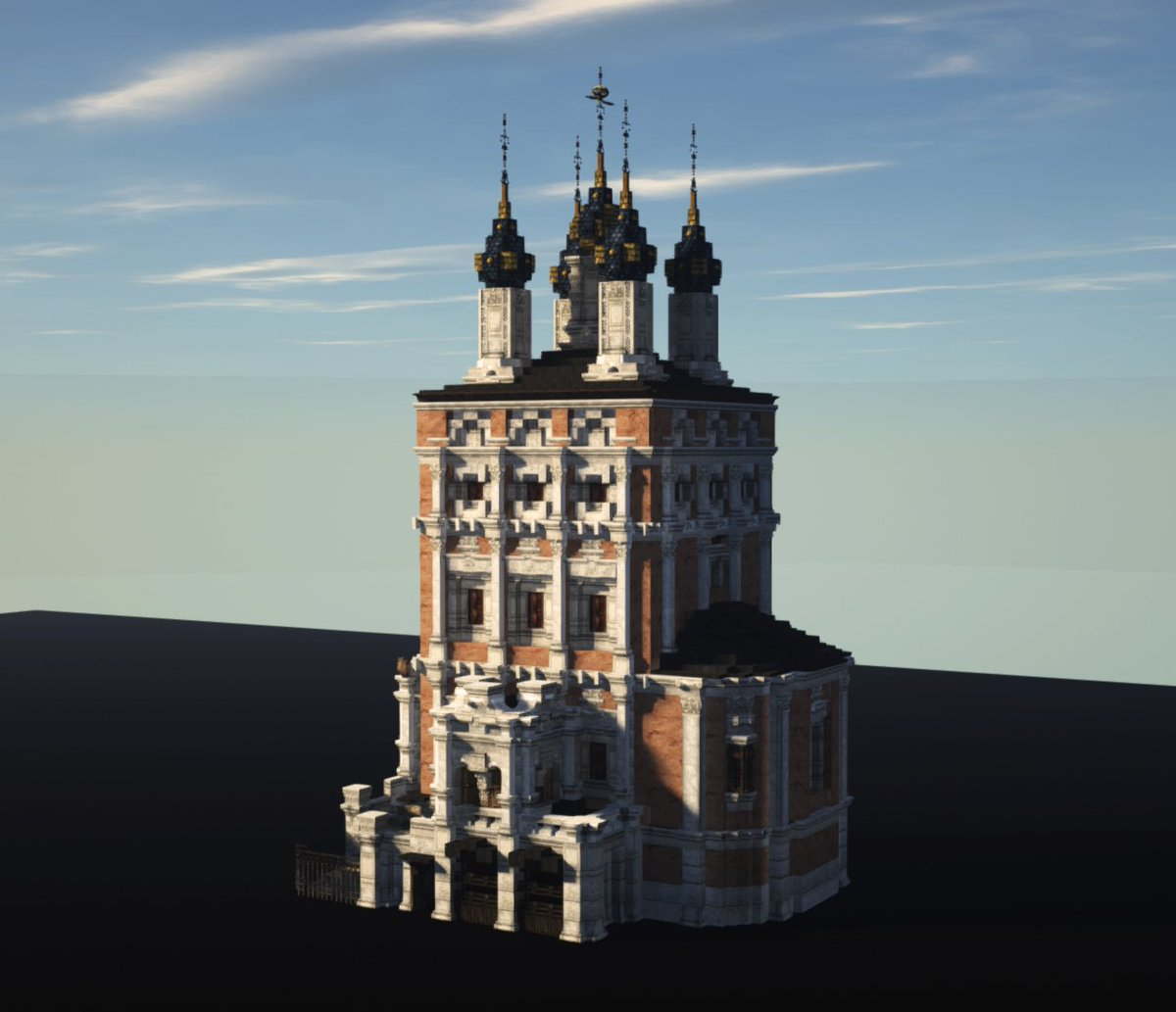 Stroganovsky baroque style church of St. Nicholas the Thaumaturge in Moscow, featuring some ecletic elements. Was destroyed in 1934.  Screenshots by MyRustyGun  #WeAreConquest #Minecraft #WeAreReforged @DarwinReforged<br>http://pic.twitter.com/9wFoeNzDUo