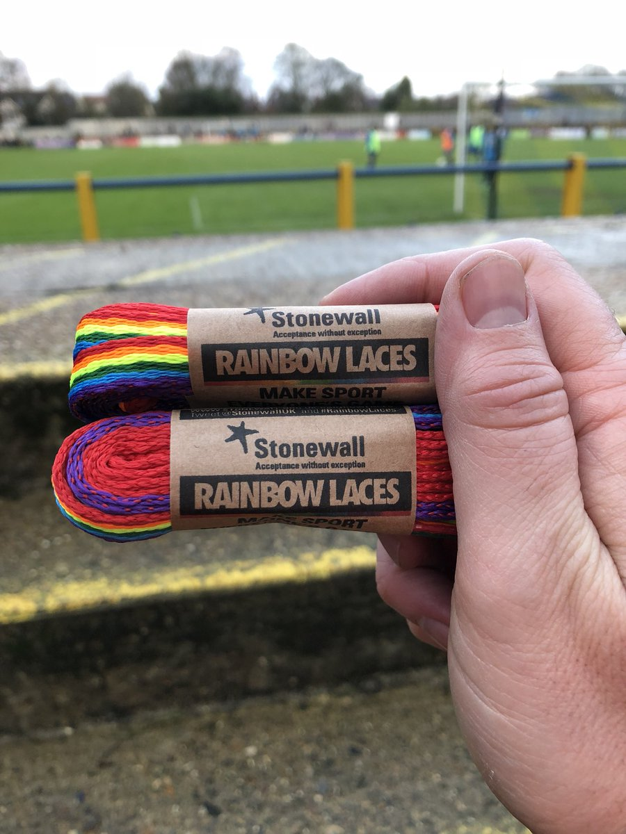 My little Joe wore the #RainbowLaces that we bought @stalbanscityfc from @stonewalluk for his match this morning! He told me they helped him because he played well and they won