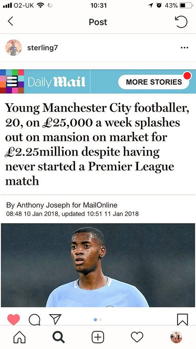 Two young soccer players bought their mothers houses. Lovely story, right? Except one is Black and the other is white. Read headlines in British paper and then read Raheem Sterling explain Racism 101. Photo