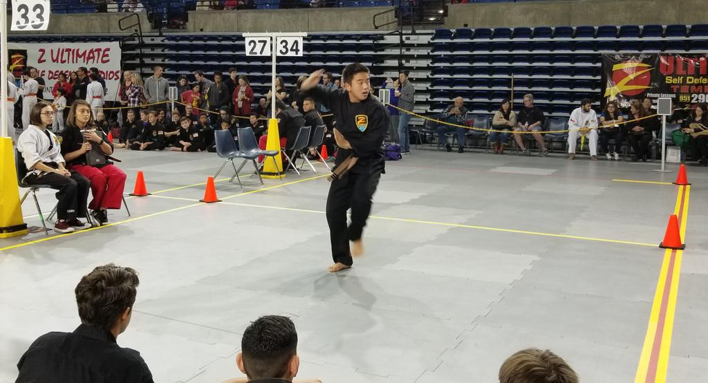Our son Brennan, a brown belt, performing kata 5 at the Winter 2018 Grand Championship Martial Arts Tournament.