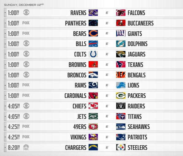 Troyvincentsr On Twitter Here S A Look At Today S Nfl Week 13 Schedule Letsplayfootball