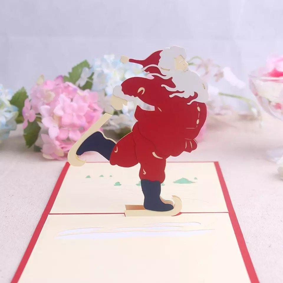 Cant work all day, sometimes #Santa needs to play! This adorable #Christmas Santa Skating customizable card will impress with its originality. #3DPopupcard #etsy #etsyshop #christmas #love #xmas #fatherchristmas #skating #o2down #handmade #2018Wrapped