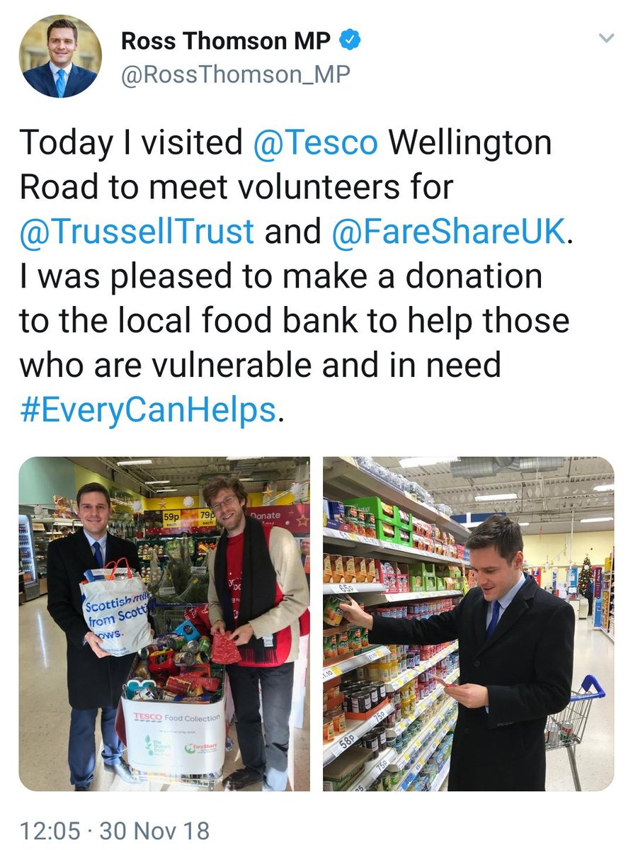 Four near identical tweets from Tories going to donate to foodbanks