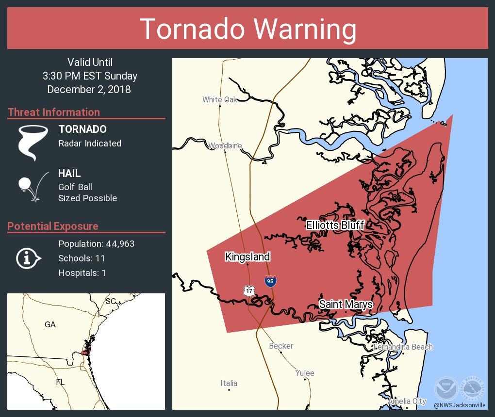 Map Of Kingsland Georgia.Nws Jacksonville On Twitter Tornado Warning Including Saint Marys
