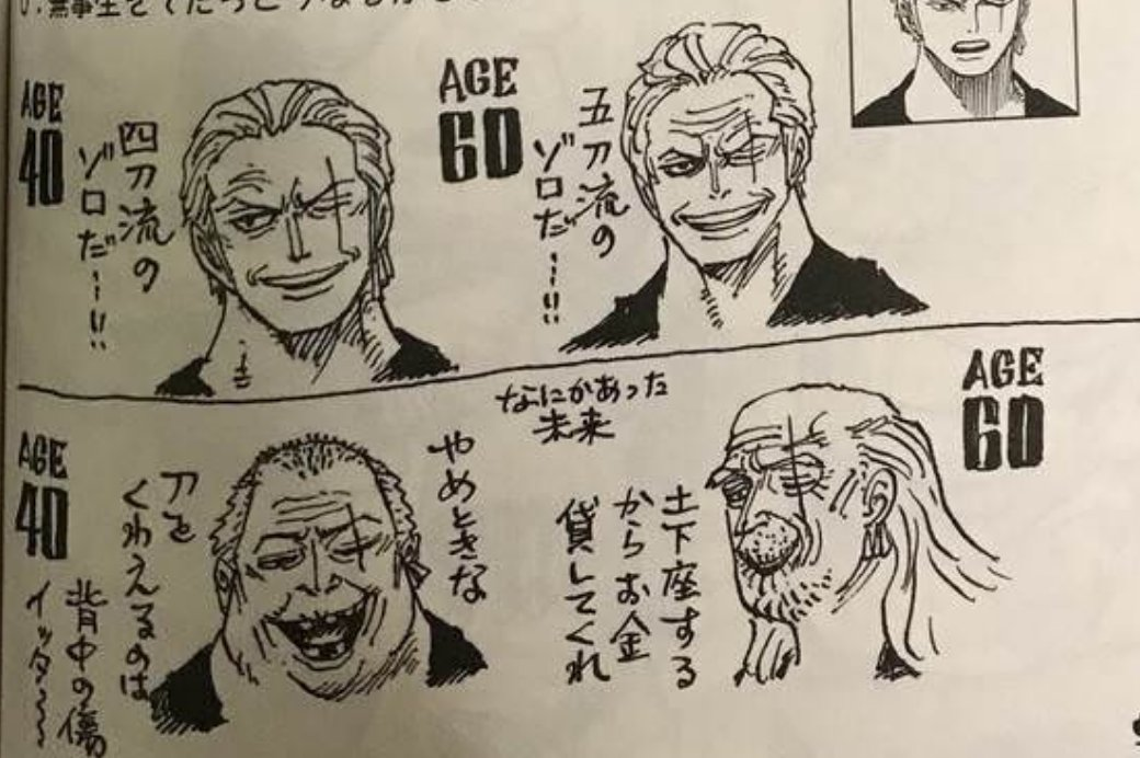 Artur Library Of Ohara On Twitter Zoro At Ages 40 And 60 Just Like Luffy Ace And Sabo